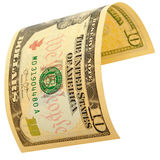 Ten dollars isolated. The denomination of ten dollars isolated Royalty Free Stock Photography