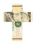 Ten dollars origami cross isolated. On white background. Stock image Stock Photo