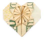 Ten dollars origami heart and star  Royalty Free Stock Photos