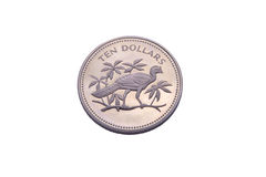 Ten dollars silver coin from Belize. Isolated Stock Photos