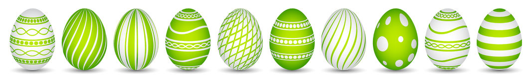 Ten easter eggs in green with texture Royalty Free Stock Photo