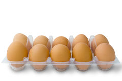 Ten egg in clean plastic pack Royalty Free Stock Photo