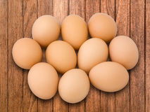 Ten Egg on Plank Wood Stock Photos