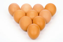 Ten eggs. On a white background Stock Images