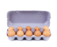 Ten eggs in a blue carton box. Stock Photo