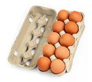 Ten eggs in a box #2 Stock Photos