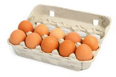 Ten eggs in a box. Against white background, gentle natural shadows behind the open lid Royalty Free Stock Image