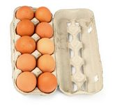 Ten eggs in a box Stock Photo