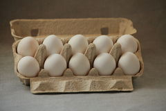 Ten eggs in a box Royalty Free Stock Images