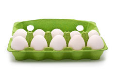 Ten Eggs in Green Container Royalty Free Stock Photo