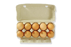 Ten eggs in the grey box. Royalty Free Stock Images