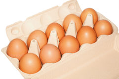 Ten eggs in pack Royalty Free Stock Photography