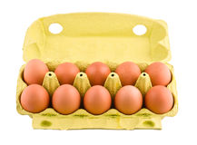 Ten eggs in package Royalty Free Stock Photos