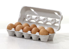 Eggs in a carton box Royalty Free Stock Photography