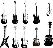 Ten electric guitars Royalty Free Stock Images