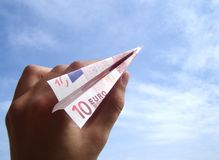 Ten Euro airplane. Throwing a ten euro banknote plane stock image