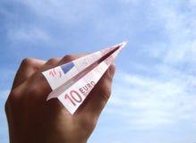 Ten Euro airplane stock image