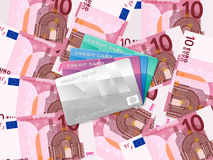 Ten euro background and credit card Stock Image