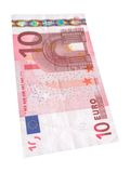 Ten Euro banknote #2. Close-up of 10 Euro banknote isolated on white background Stock Photos