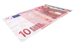 Ten Euro banknote. Close-up of 10 Euro banknote isolated on white background Royalty Free Stock Photography