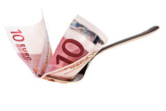 Free Ten Euro Banknote And Fork. Stock Photos - 19275753