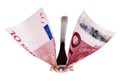 Ten euro banknote and fork. Royalty Free Stock Images