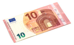 Ten euro banknote, isolated on white Royalty Free Stock Images