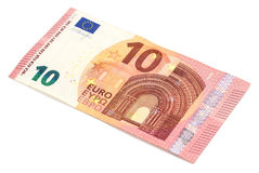 Ten euro banknote, isolated on white. Royalty Free Stock Image