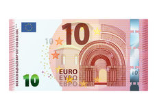 Ten euro banknote isolated on white background Royalty Free Stock Photos