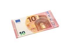 Ten euro banknote isolated on white. Ten euro banknote isolated on white background with clipping path Stock Images