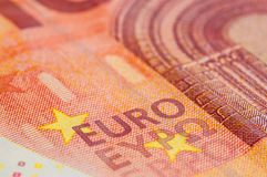 Ten Euro Banknote. In a macro shot Stock Photos
