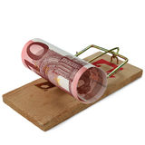 Ten Euro banknote in mouse trap isolated on white Royalty Free Stock Photos