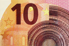 Ten euro banknote 10. Original photo part of new ten euro banknote Stock Photography