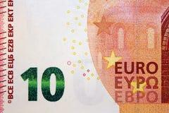 Ten euro banknote 10. Original photo part of new ten euro banknote Royalty Free Stock Photos