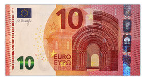Ten euro banknote 10. Original photo part of new ten euro banknote royalty free stock photography