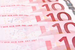 Ten euro banknotes background Stock Photos
