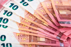 Ten euro banknotes Stock Images