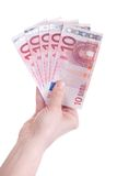 Ten Euro banknotes in female hand Stock Photography