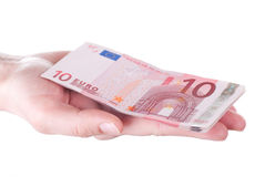 Ten Euro banknotes in female hands Stock Photos