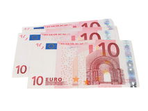 Ten euro banknotes isolated on white Royalty Free Stock Photo