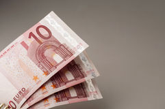 Ten euro banknotes. Euro money banknotes close up Royalty Free Stock Images