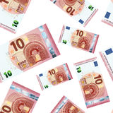 Ten euro banknotes, seamless pattern. A lot of 10 euro banknotes on white, seamless pattern Royalty Free Illustration