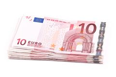 Ten euro banknotes. Isolated on a white background royalty free illustration
