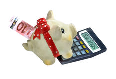 Ten Euro Bill In Piggy Bank With Calculator Royalty Free Stock Images