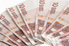 Ten euro bills Stock Photo