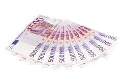 Ten 500 euro bills isolated on white Stock Photo