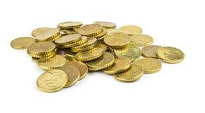 Ten euro cents pile. Pile of euro ten cent coins Royalty Free Stock Photos