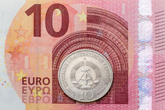 Ten euro and East German Mark Royalty Free Stock Photos