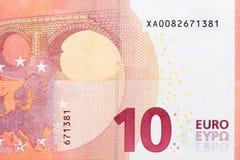 Ten euro - macro fragment banknote. Royalty Free Stock Photos