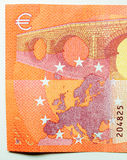 Ten Euro note with Bridge and Europe map Royalty Free Stock Photo